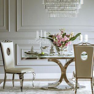 Komplet 4 krzeseł glamour do jadalni biała eko skóra VITO poekspozycyjne