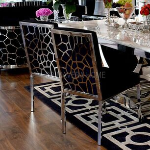 Krzesło tapicerowane glamour do jadalni srebrne czarne