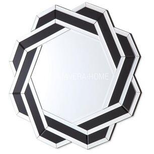 Lustro geometryczne okragłe w dekoracyjnej biało czarnej ramie