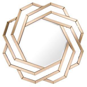 Lustro geometryczne okragłe w dekoracyjnej w złotej ramie
