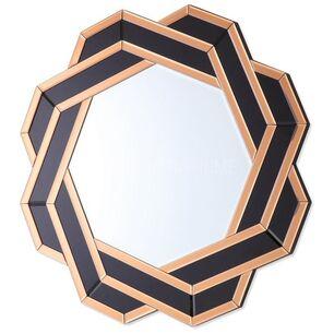 Lustro geometryczne okragłe w dekoracyjnej złoto czarnej ramie