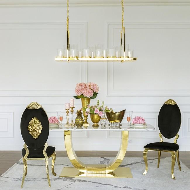 Glamour Stuhl Edelstahl Gold für Esszimmer schwarz Velours QUEEN