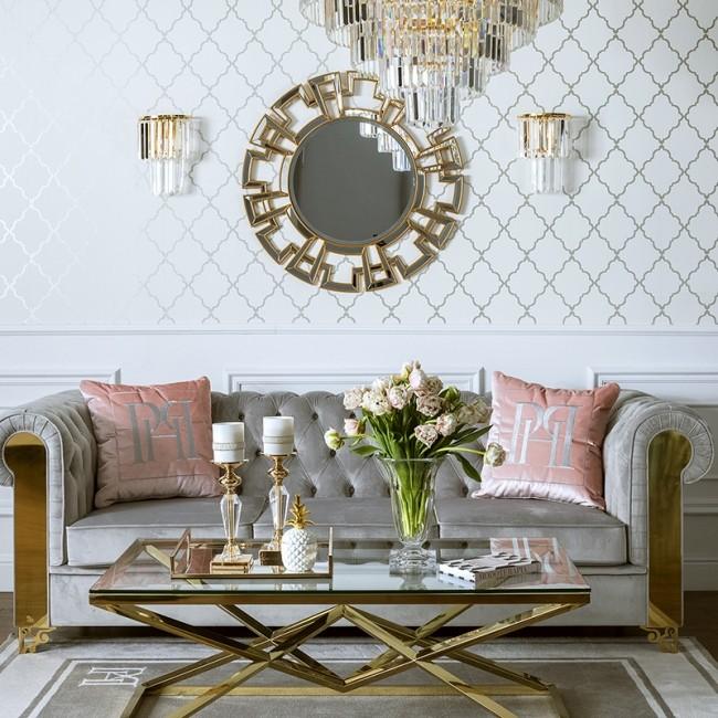 Kinkiet kryształowy złoty lampa ścienna glamour nowojorski GLAMOUR XS GOLD
