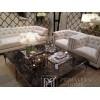 Fotel tapicerowany pikowany chesterfield classic styl glamour beżowy szary PAOLA