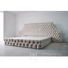 Glamour upholstered bed quilted chesterfield grey white VISION