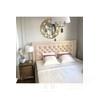 New York Bett Glamour gepolstert gesteppt Chesterfield grau, weiß MODERN