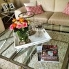 Coffee Table Set CRISS CROSS M Silver Glass Stainless Steel
