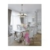 Glamour steel chair modern upholstered for dining room white eco leather VITO