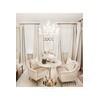 Stół glamour do jadalni okrągły 100  cm złoty z białym marmurem Tiziano