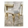 Upholstered quilted chair quilted on steel legs gold grey for GRETA living room