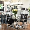 Glamour dining room table glass steel modern black PICASSO