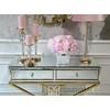Świecznik kryształowy na okrągłym postumencie w stylu glamour złoty FLAVIO O L