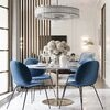 Stół glamour do jadalni okrągły 100 cm srebrny stalowy z białym marmurem Tiziano