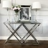 Glamour console stainless steel silver glass DONNA
