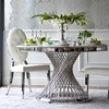 Glamor chair upholstered MEDALION in steel, white and silver