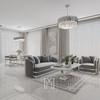 Nowoczesny fotel glamour do salonu, jadalni szary srebrny MADONNA