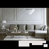 FIGARO Ecksofa im modernen Stil Italienisch grau mit Naturfedern und Gänsedaunen