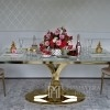 Glamour dining room table gold steel white glass top Ritz