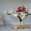 Stół glamour do jadalni złoty stalowy biały szklany blat wysoki połysk Ritz 180x100