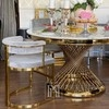 Glamour golden round table with marble top ANTONIO GOLD