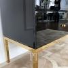 Komoda szklana FRANCO GOLD glamour czarna na stalowych złotych nogach OUTLET
