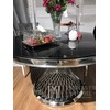 Glamour round steel silver table with marble top ANTONIO