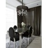 Krzesło glamour MEDALION tapicerowane pikowane, welur, stal, do jadalni 49x49x102,5 czarny OUTLET