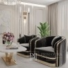 Fotel tapicerowany glamour do salonu, jadalni czarny złoty MADONNA OUTLET