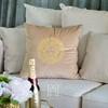 Decorative velvet pillow beige with gold logo Medusa