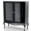 Glass showcase for the living room, bent legs glossy white black ELENA GLAMOR