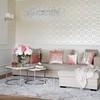 Stolik kawowy MARCO SILVER nowoczesny, glamour biały marmur, srebrny OUTLET