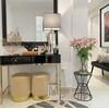 Konsola glamour FRANCO, toaletka nowojorska wysoki połysk czarna złota OUTLET