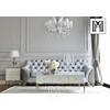 Szafka nocna Franco glamour szklana do sypialni super white srebrny OUTLET