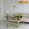 Stolik boczny glamour  z białym konglomeratem  złoty RALPH