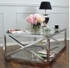 Coffee table stainless steel glass silver CRISS CROSS XXL