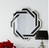Round mirror DUNE in black and silver frame 85x85 OUTLET