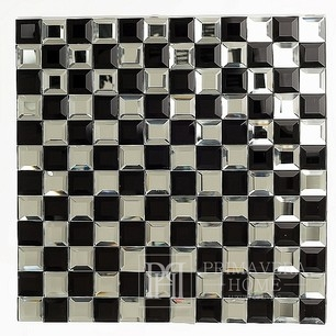 Black and White Hermione Black and White Glass Diamond Mosaic Chessboard