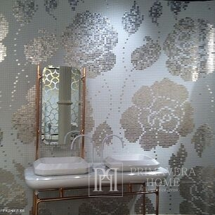 Glass mosaic winter Flowers Oro Bianco white and silver