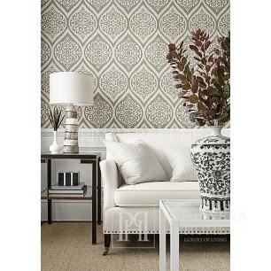 DAMASK RESOURCE Geometric wallpaper in New York style American English WHITE GREY SILVER BACK BLACK