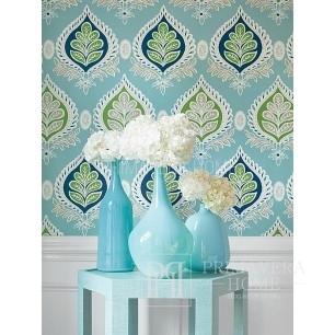 BRIDGE HAMPTON New York style geometric wallpaper American style white gray blue roses