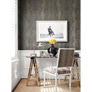 DAMASK RESOURCE Tapeta geometryczna w stylu nowojorskim angielskim amerykańskim BIAŁA SZARA CZARNA NIEBIESKA BRĄZOWA