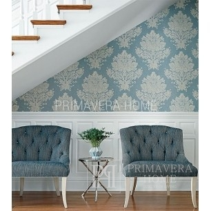 DAMASK RESOURCE Geometric wallpaper in New York style American style YELLOW BLUE RED GREEN