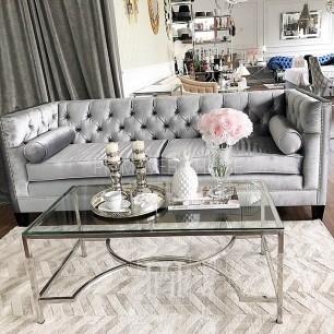 Sofa Nowojorska szara biała glamour MORIS