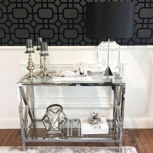 Glamour console stainless steel silver glass EMPIRE