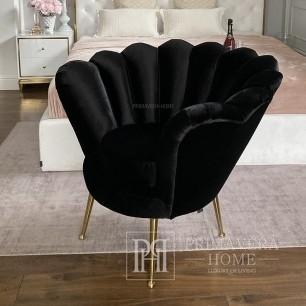 Fotel glamour nowojorski do sypiałni przedpokoju SHELL GOLD