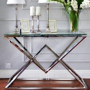 Glamour Silberkonsole (lub Konsole Silber) aus Edelstahl und Glas CONRAD