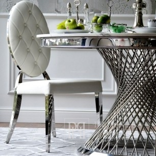 Glamour chair MEDALION for dining, stainless steel, white 49x49x102,5 OUTLET