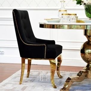 Gepolsterter Steppstuhl auf Stahlbeinen Gold-schwarz für TIFFANY-Wohnzimmer