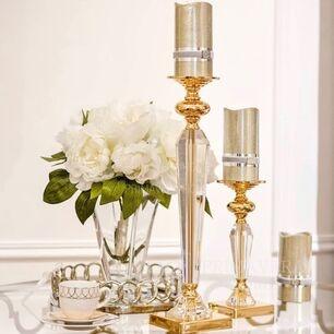 Crystal candlestick L FLAVIO on pedestal gold