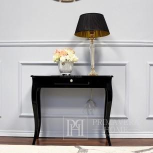 Eine schwarze holzkonsole im glamourstil mit einem hochglanz ELEGANT